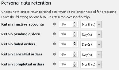 Настройки за съхраняването на данните