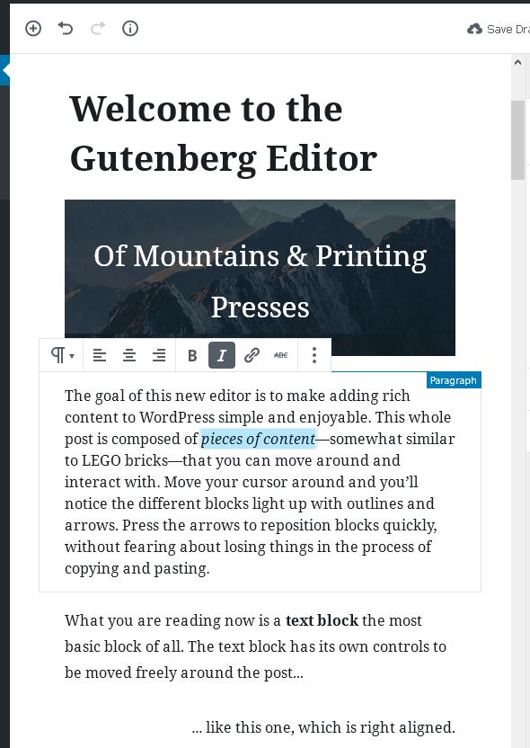 Параграф - блок с текстово съдържание в Gutenberg