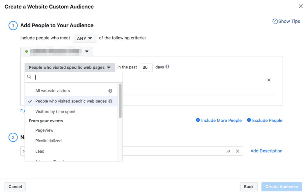 Поставете адреса на страницата и създайте аудиторията.