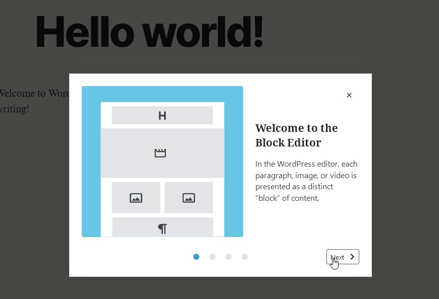 Приветстващо прозорче при първо зареждане на блок-редактора.