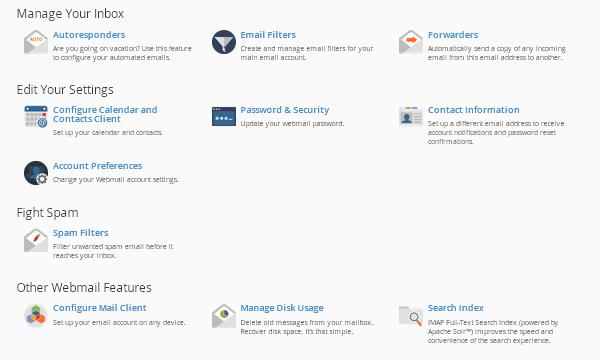 Опциите в начална страница на уебмейл (Webmail Home).