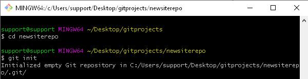 Създаване (init) на локално Git хранилище през Git Bash.