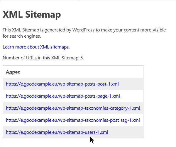 XML картата на сайта, генерирана от WordPress.