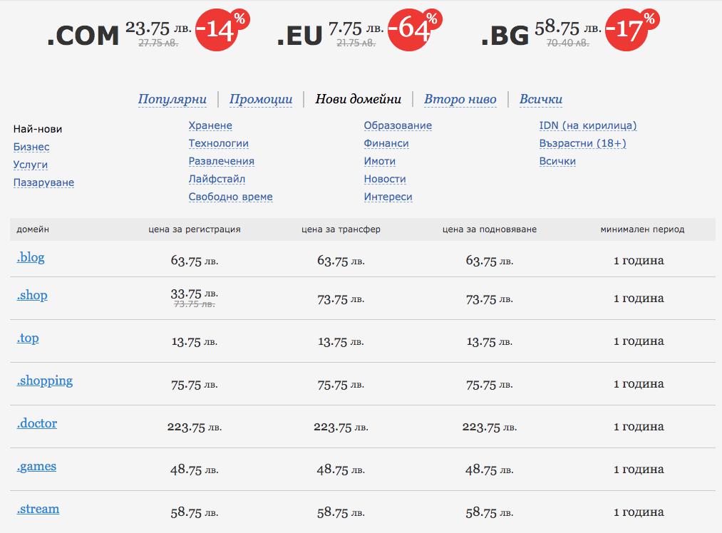 Нови домейни в СуперХостинг.БГ