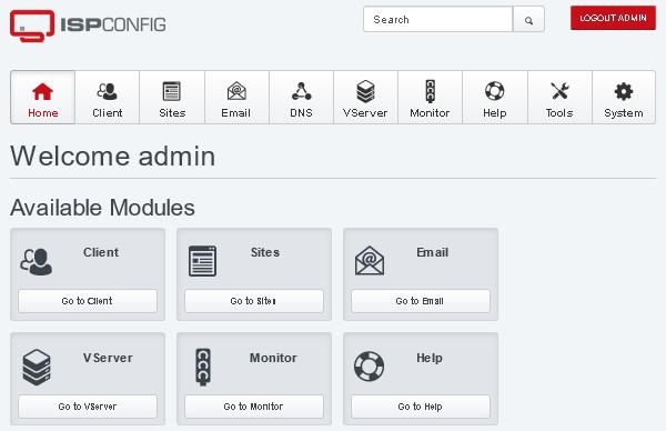 Административен панел на ISPConfig панела.