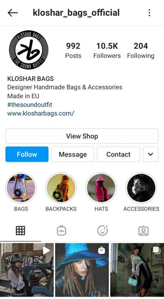 Instagram профил на Kloshar Bags