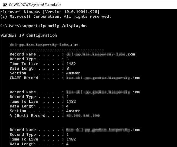 Записаният локален DNS кеш на Windows устройство.