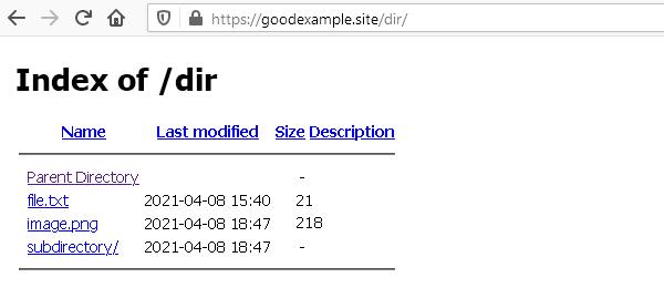 Показването на съдържанието е активирано и в директорията няма индексен файл.
