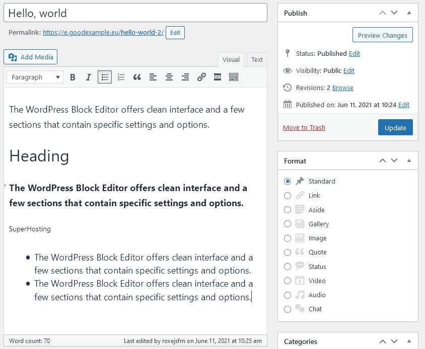 Класическият редактор в WordPress, който може да се инсталира като плъгин.