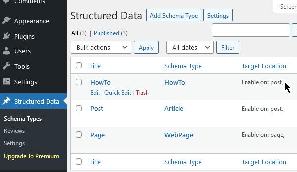 Добавяне на схеми, които може да се използват за съдържанието в сайта.