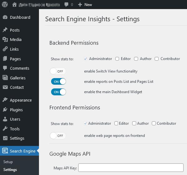 Настройки на плъгина Search Engine Insights.