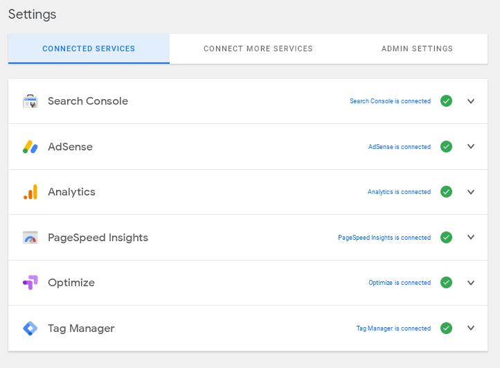 Свързаните със сайта Google услуги.