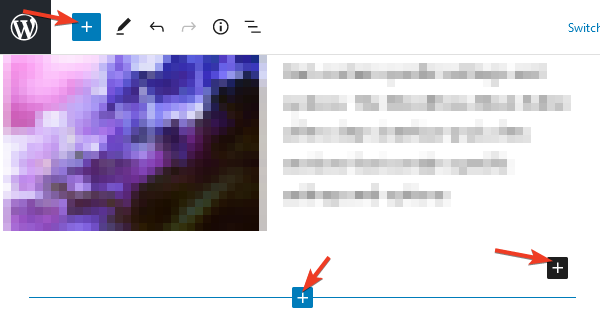 """Нов блок може да се добави от всеки бутон с """"плюс""""."""