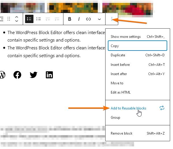 Опцията в блок-панела за добавяне на блок в Преизползваеми блокове.