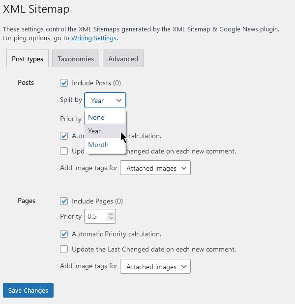 XML картата може да се раздели на отделни порции по години.