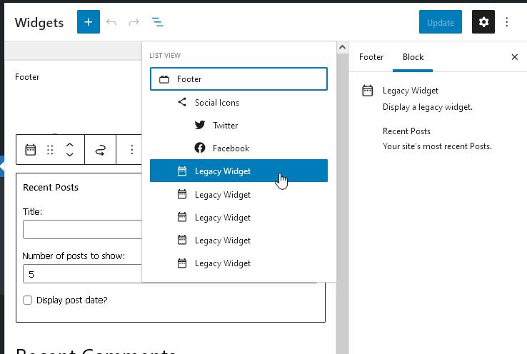 Вече добавените джаджи ще се намират в блок Legacy Widget и ще продължат да работят.