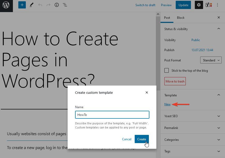 Създаване на нов темплейт за страница/публикация през блок-редактора.