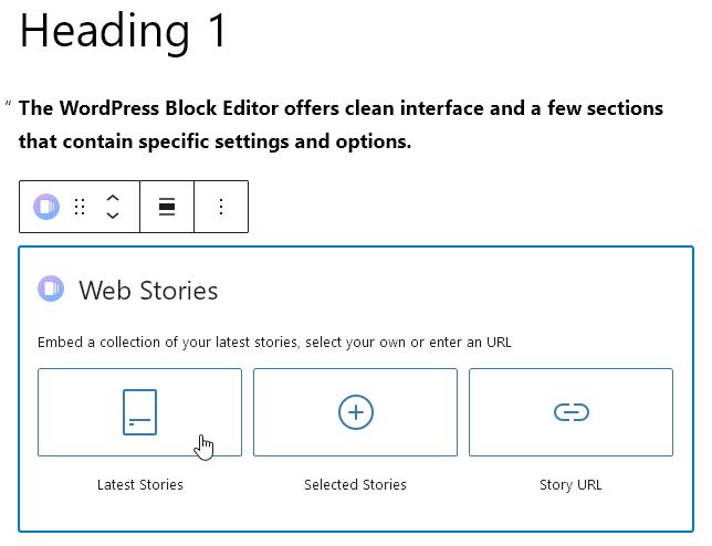 Специален блок Web Stories за вмъкване на разказ в съдържанието на страницата.