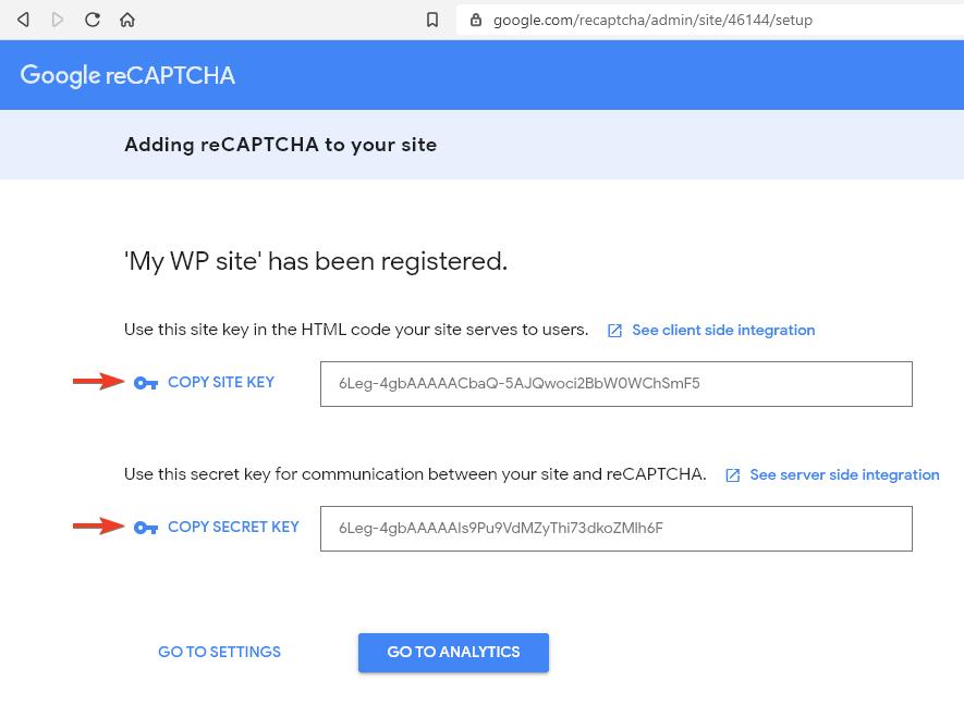 След регистрацията ще разполагате с нужните два ключа за активиране на reCAPTCHA теста в сайта.