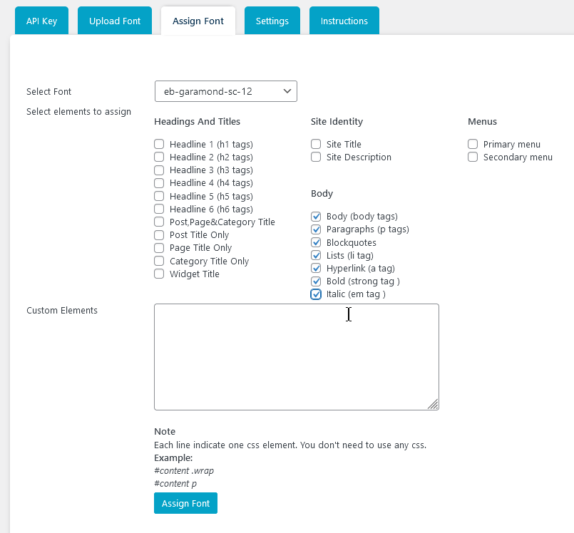 Задаване на шрифта за определени елементи от сайта.