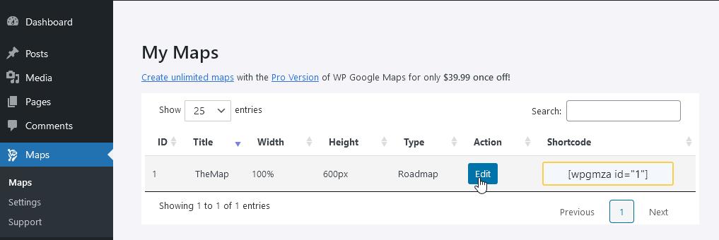 Картата се редактира през администрацията на WordPress.