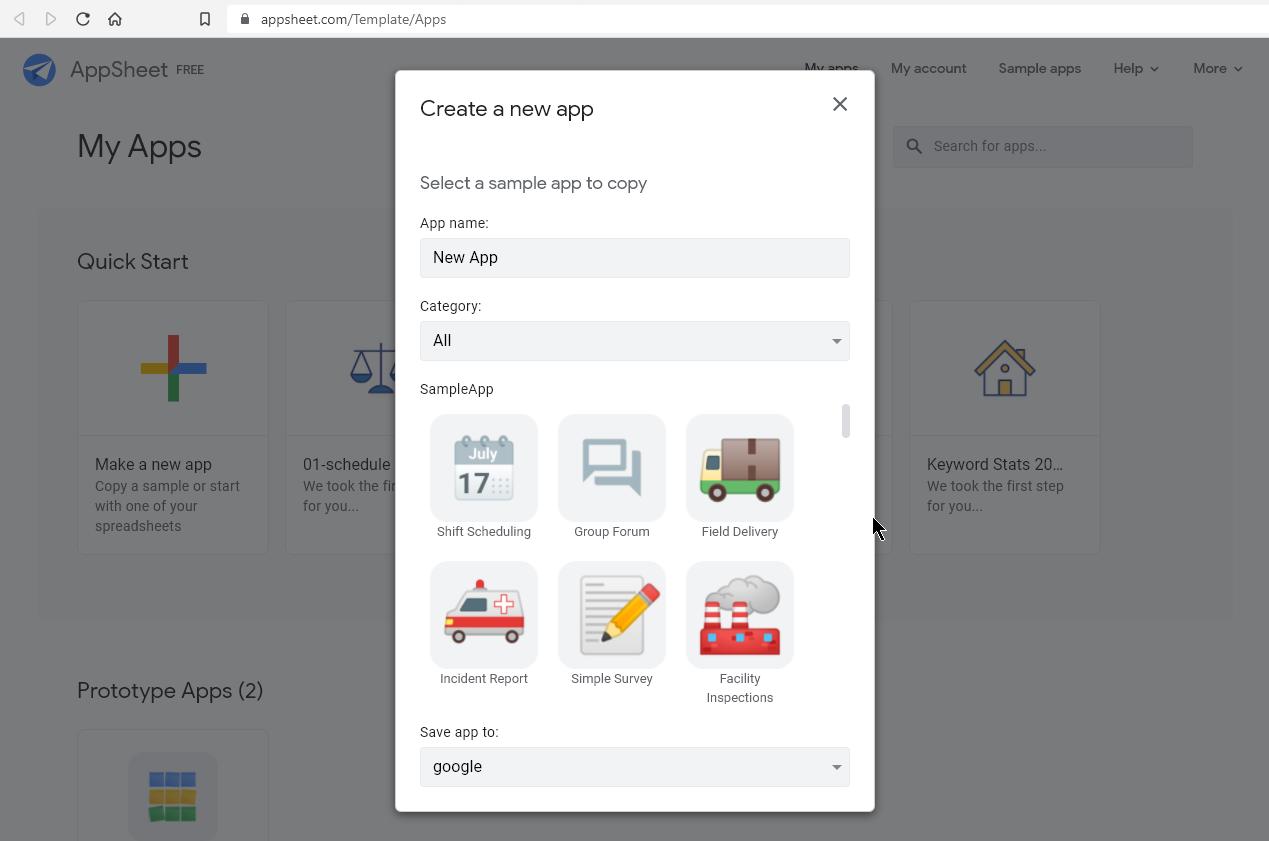 Google AppSheet - No-code платформа за създаване на приложения.